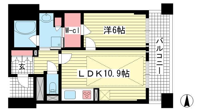 物件番号: 1025826002 ワコーレ ザ・トアロードレジデンス  神戸市中央区中山手通2丁目 1LDK マンション 間取り図