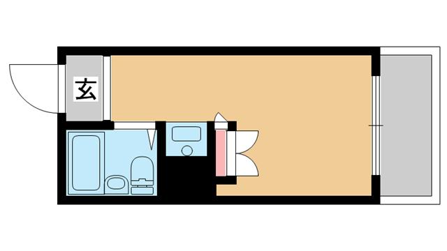 物件番号: 1025826006 ネオダイキョー三宮  神戸市中央区琴ノ緒町2丁目 1R マンション 間取り図