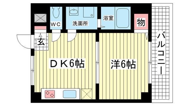物件番号: 1025826020 ユニバーサルビル  神戸市兵庫区西上橘通2丁目 1DK マンション 間取り図