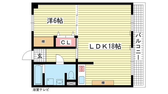 物件番号: 1025826064 みゆきハイム  神戸市中央区御幸通3丁目 1LDK マンション 間取り図