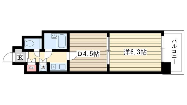 物件番号: 1025826173 コスモ神戸北  神戸市北区鈴蘭台東町5丁目 1DK マンション 間取り図