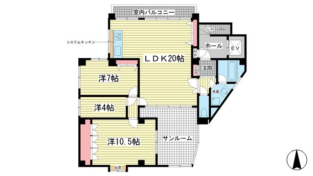 物件番号: 1025826224 NOBSUN異人館通  神戸市中央区山本通2丁目 3LDK マンション 間取り図