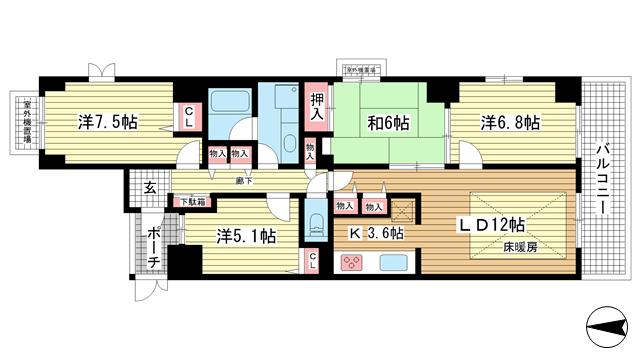 物件番号: 1025826296 カサベラ中山手通  神戸市中央区中山手通2丁目 4LDK マンション 間取り図
