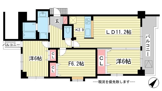 物件番号: 1025826306 パルメーラ六甲  神戸市灘区森後町2丁目 3LDK マンション 間取り図