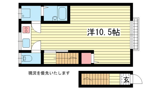 物件番号: 1025826391 宮西文化  神戸市中央区二宮町1丁目 1R アパート 間取り図