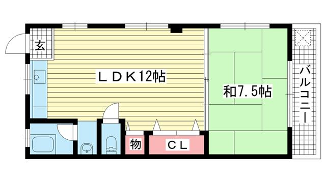 物件番号: 1025826614 エクセル神戸  神戸市中央区熊内町8丁目 1LDK マンション 間取り図