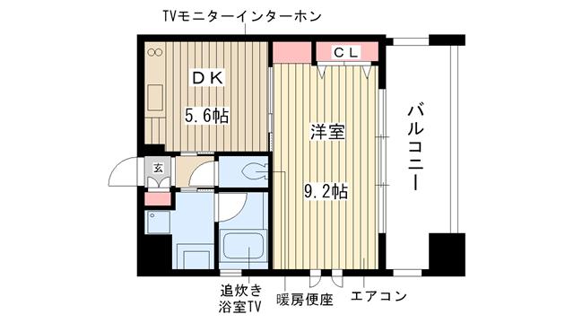 物件番号: 1025826647 プレジール三宮  神戸市中央区加納町2丁目 1DK マンション 間取り図