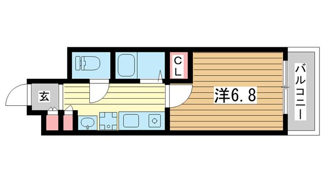 物件番号: 1025826657 ウィンテージ神戸元町  神戸市中央区元町通7丁目 1K マンション 間取り図