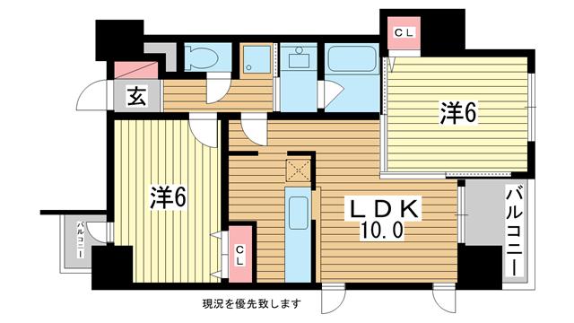 物件番号: 1025826737 メゾン・ヌーベル新神戸  神戸市中央区二宮町2丁目 2LDK マンション 間取り図