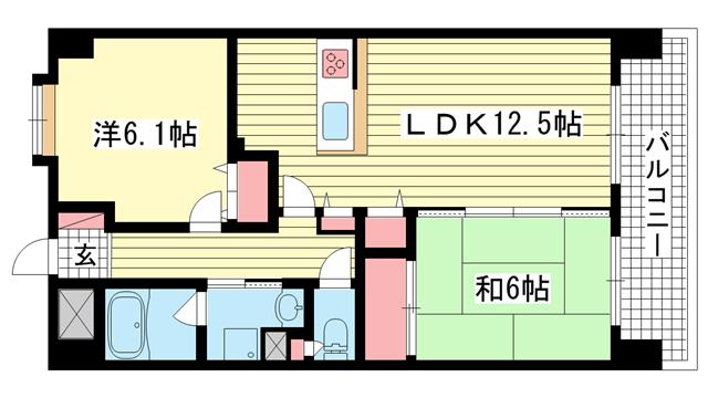 物件番号: 1025826812 サンシャイン三宮二番館  神戸市中央区二宮町4丁目 2LDK マンション 間取り図