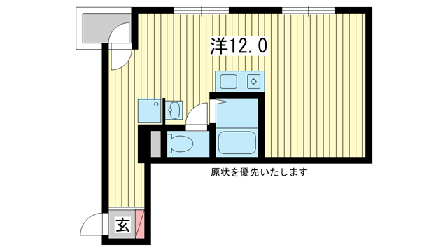 物件番号: 1025826855 ノベラ御幸通  神戸市中央区御幸通2丁目 1R マンション 間取り図