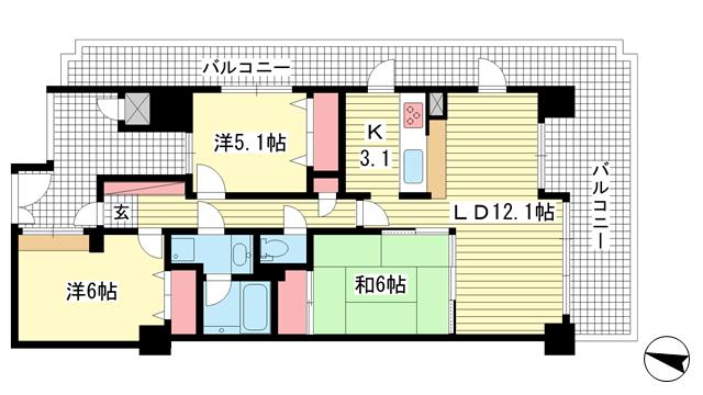 物件番号: 1025827050 藤和シティホームズ三宮  神戸市中央区磯辺通3丁目 3LDK マンション 間取り図