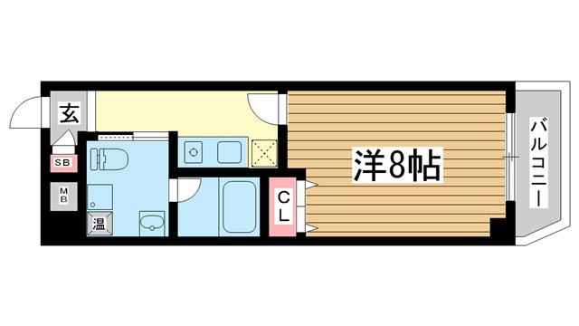 物件番号: 1025827332 フキ三宮ビル  神戸市中央区御幸通6丁目 1K マンション 間取り図