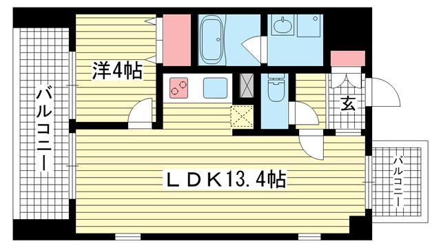 物件番号: 1025827440 ワコーレヴィータ王子公園  神戸市灘区王子町1丁目 1LDK マンション 間取り図