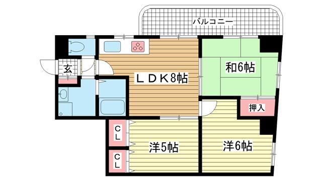 物件番号: 1025827504 サンヴィラ六甲道パートⅢ  神戸市灘区徳井町 3LDK マンション 間取り図