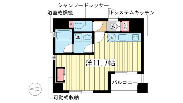 物件番号: 1025827544 セルフィーユ三宮  神戸市中央区二宮町4丁目 1R マンション 間取り図