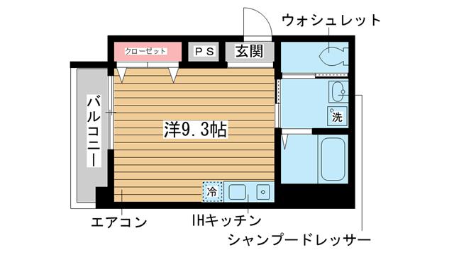 物件番号: 1025827561 サンステージ神戸大倉山  神戸市中央区楠町6丁目 1R マンション 間取り図