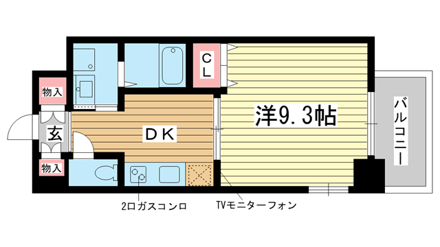 物件番号: 1025827652 サンビレッジ布引  神戸市中央区生田町4丁目 1DK マンション 間取り図