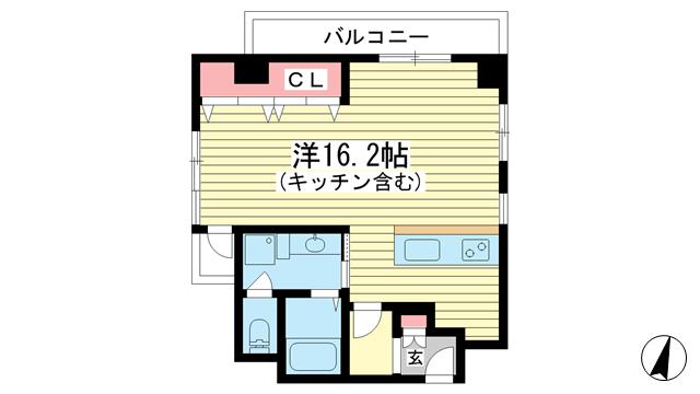 物件番号: 1025827722 三宮ハウス  神戸市中央区小野柄通3丁目 1LDK マンション 間取り図