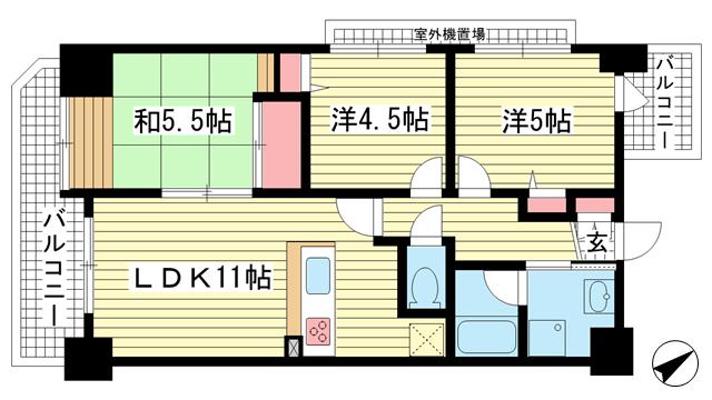 物件番号: 1025827805 ベルレコルテ浜辺  神戸市中央区浜辺通3丁目 3LDK マンション 間取り図