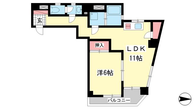 物件番号: 1025827928 甲南アセットトーア・ハイツ  神戸市中央区山本通3丁目 1LDK マンション 間取り図