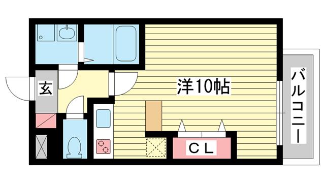 物件番号: 1025827943 テルマ下祇園  神戸市兵庫区下祇園町 1K マンション 間取り図