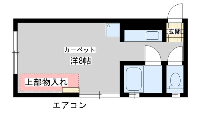 物件番号: 1025827948 生田マンション  神戸市中央区生田町3丁目 1K マンション 間取り図