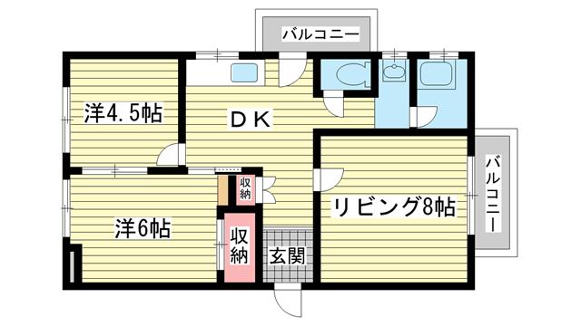 物件番号: 1025827972 第1スカイマンション  神戸市中央区北野町4丁目 2LDK マンション 間取り図