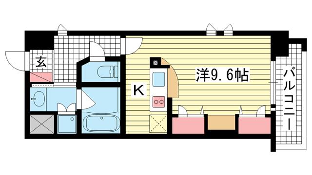 物件番号: 1025828092 KAISEI新神戸第2WEST  神戸市中央区布引町2丁目 1R マンション 間取り図