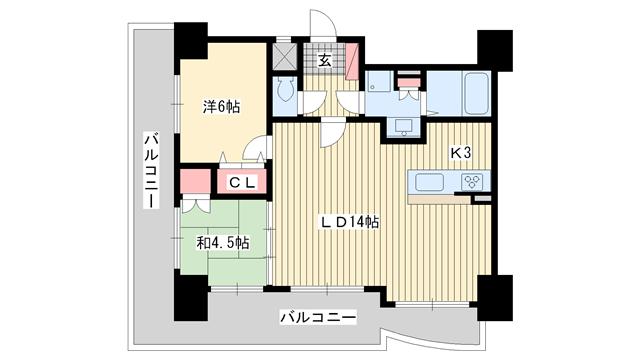 物件番号: 1025828236 ローレル・トアスクエア  神戸市中央区中山手通2丁目 2LDK マンション 間取り図
