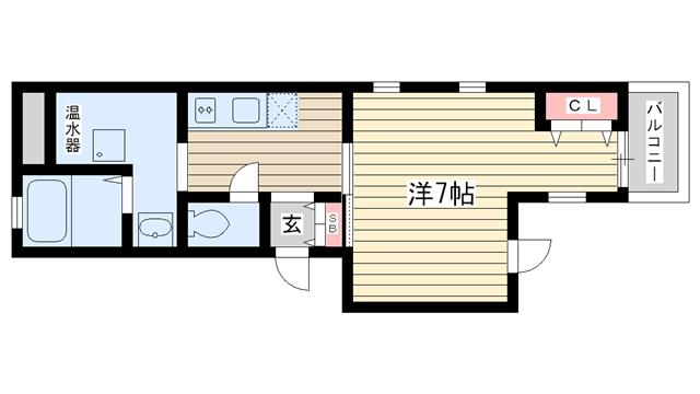 物件番号: 1025828259 ラ・サンテ王子公園  神戸市灘区福住通5丁目 1K マンション 間取り図