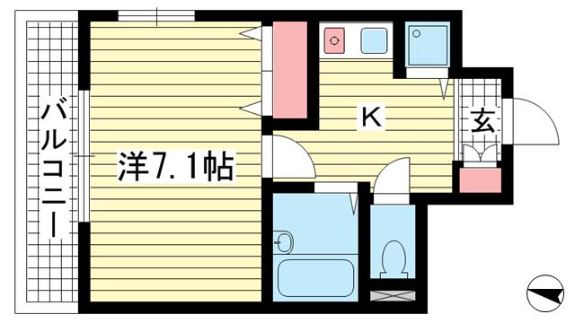 物件番号: 1025828264 ハーバーステージ神戸  神戸市中央区下山手通8丁目 1K マンション 間取り図