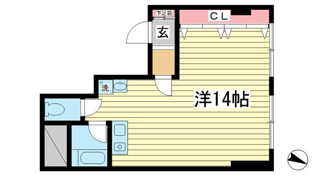 物件番号: 1025828336 村上ビル  神戸市中央区中山手通1丁目 1R マンション 間取り図