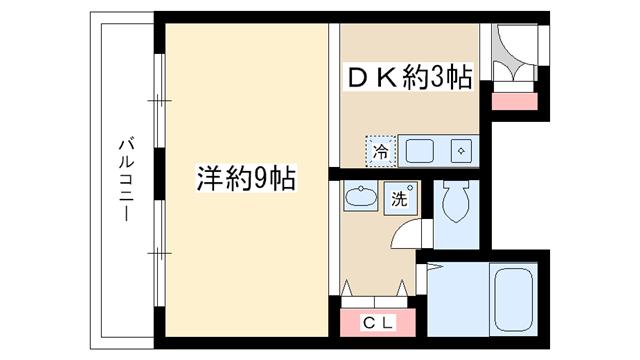 物件番号: 1025828518 ドミトリー魚崎  神戸市東灘区魚崎中町4丁目 1DK マンション 間取り図