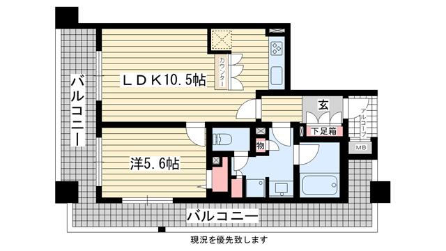 物件番号: 1025828555 ワコーレ元町セリュックス  神戸市中央区花隈町 1LDK マンション 間取り図