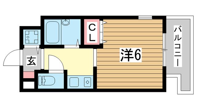 物件番号: 1025828715 レファインド春日野道  神戸市中央区八雲通3丁目 1K マンション 間取り図