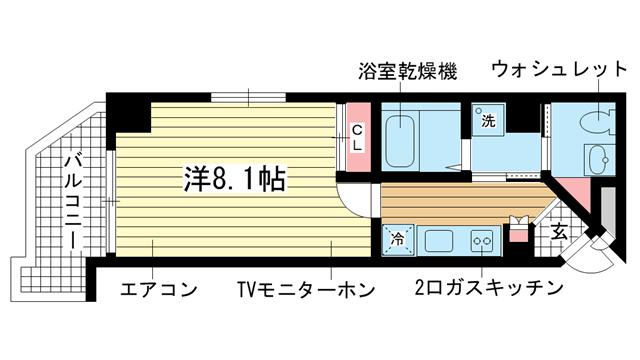 物件番号: 1025828716 ラナップスクエア湊川公園  神戸市兵庫区中道通1丁目 1K マンション 間取り図