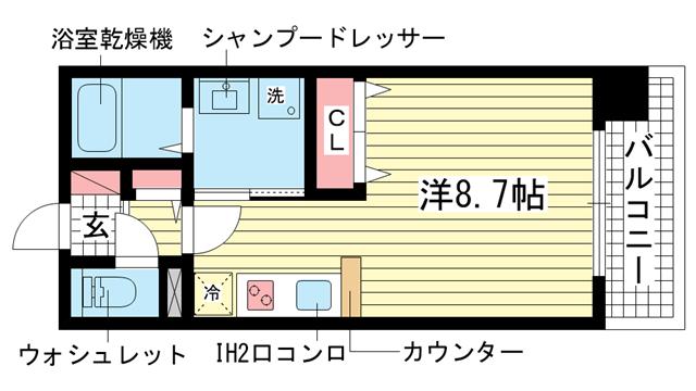 物件番号: 1025828717 モンテマーレ北野  神戸市中央区生田町2丁目 1R マンション 間取り図
