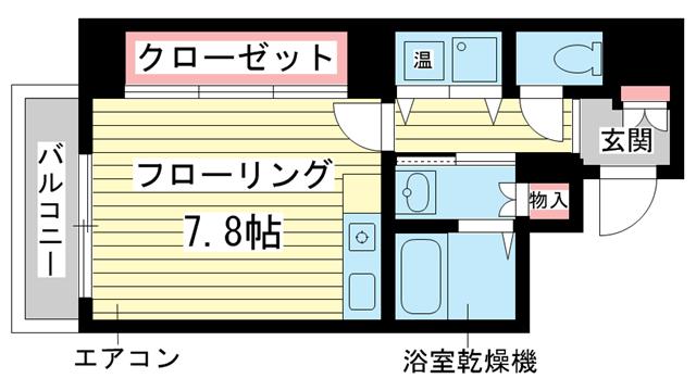 物件番号: 1025828739 AXiS神戸みなと元町  神戸市中央区元町通6丁目 1R マンション 間取り図
