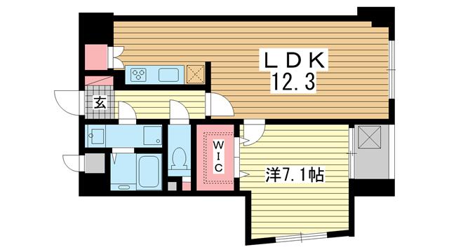 物件番号: 1025828761 カサベラ異人館山本通  神戸市中央区山本通2丁目 1LDK マンション 間取り図