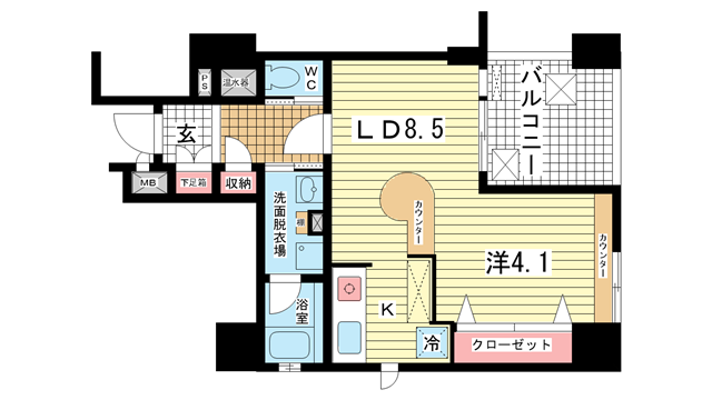 物件番号: 1025828794 ワコーレ三宮ランドマークシティ  神戸市中央区磯辺通2丁目 1R マンション 間取り図