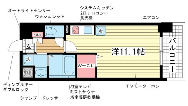 物件番号: 1025829023 アドバンス三宮ウイングロード  神戸市中央区吾妻通6丁目 1R マンション 間取り図