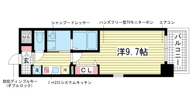 物件番号: 1025829105 アドバンス三宮Ⅲリンクス  神戸市中央区日暮通1丁目 1K マンション 間取り図