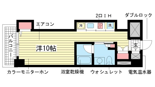 物件番号: 1025829117 レジディア神戸磯上  神戸市中央区磯上通3丁目 1K マンション 間取り図