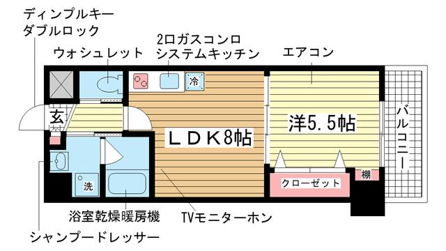 物件番号: 1025829437 ウィングコート小松  神戸市兵庫区小松通2丁目 1LDK マンション 間取り図