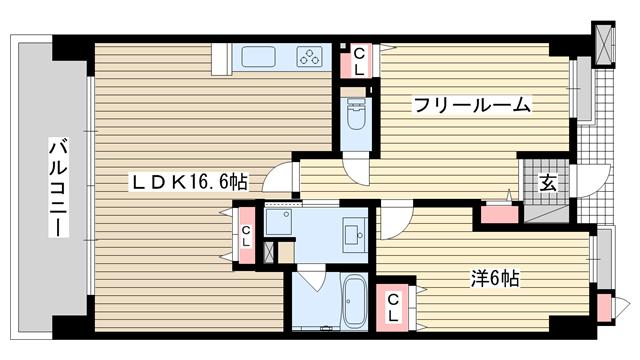 物件番号: 1025829488 ルネ神戸磯上通  神戸市中央区磯上通3丁目 1SLDK マンション 間取り図