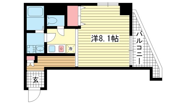 物件番号: 1025829671 Kitano Flats Plus  神戸市中央区山本通3丁目 1K マンション 間取り図