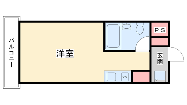 物件番号: 1025829838 S-CUBE  神戸市東灘区御影石町4丁目 1R マンション 間取り図