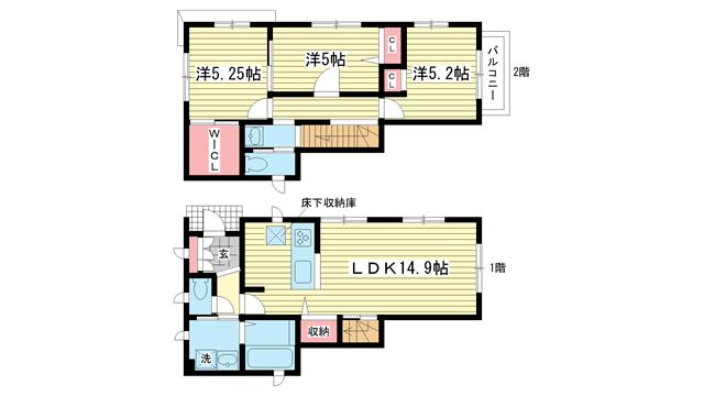 物件番号: 1025829973 矢部町貸家  神戸市兵庫区矢部町 3LDK 貸家 間取り図