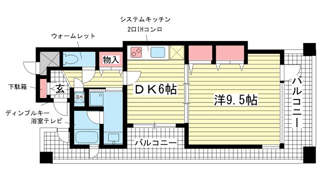 物件番号: 1025829996 プレジール三宮Ⅲ  神戸市中央区琴ノ緒町1丁目 1DK マンション 間取り図